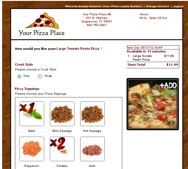 pizza online ordering software