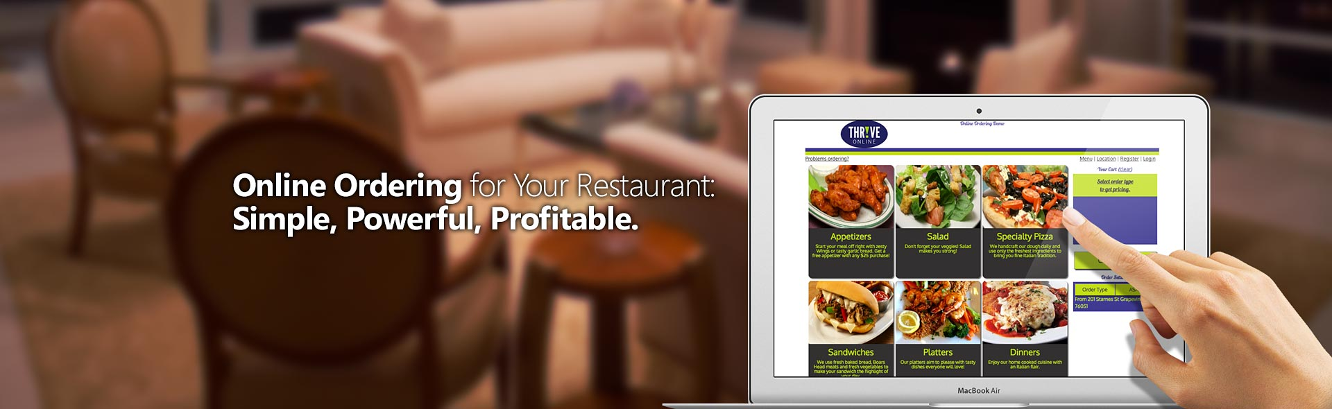 Thrive online ordering point of sale for Restaurants